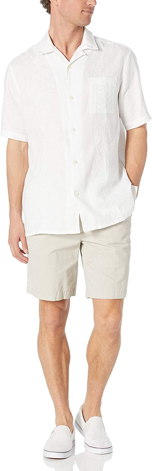 28 Palms Mens Relaxed-Fit Short-Sleeve 100/% Linen Embroidered Guayabera Shirt,