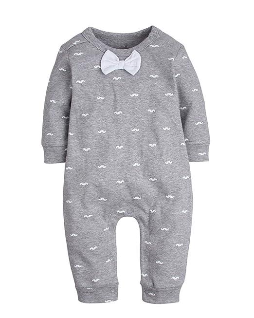 Kidsform 1-24M Bebé Romper Mameluco Sin Pies Algodón Orgánico Suit Mono Pijama Pelele Gris