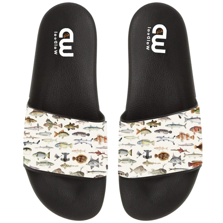 Colored Illustration Of Fish Drawing Summer Slide Slippers For Men Women Kid Indoor Open-Toe Sandal Shoes