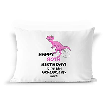 80th Birthday Dinosaur Gift Pillowcase
