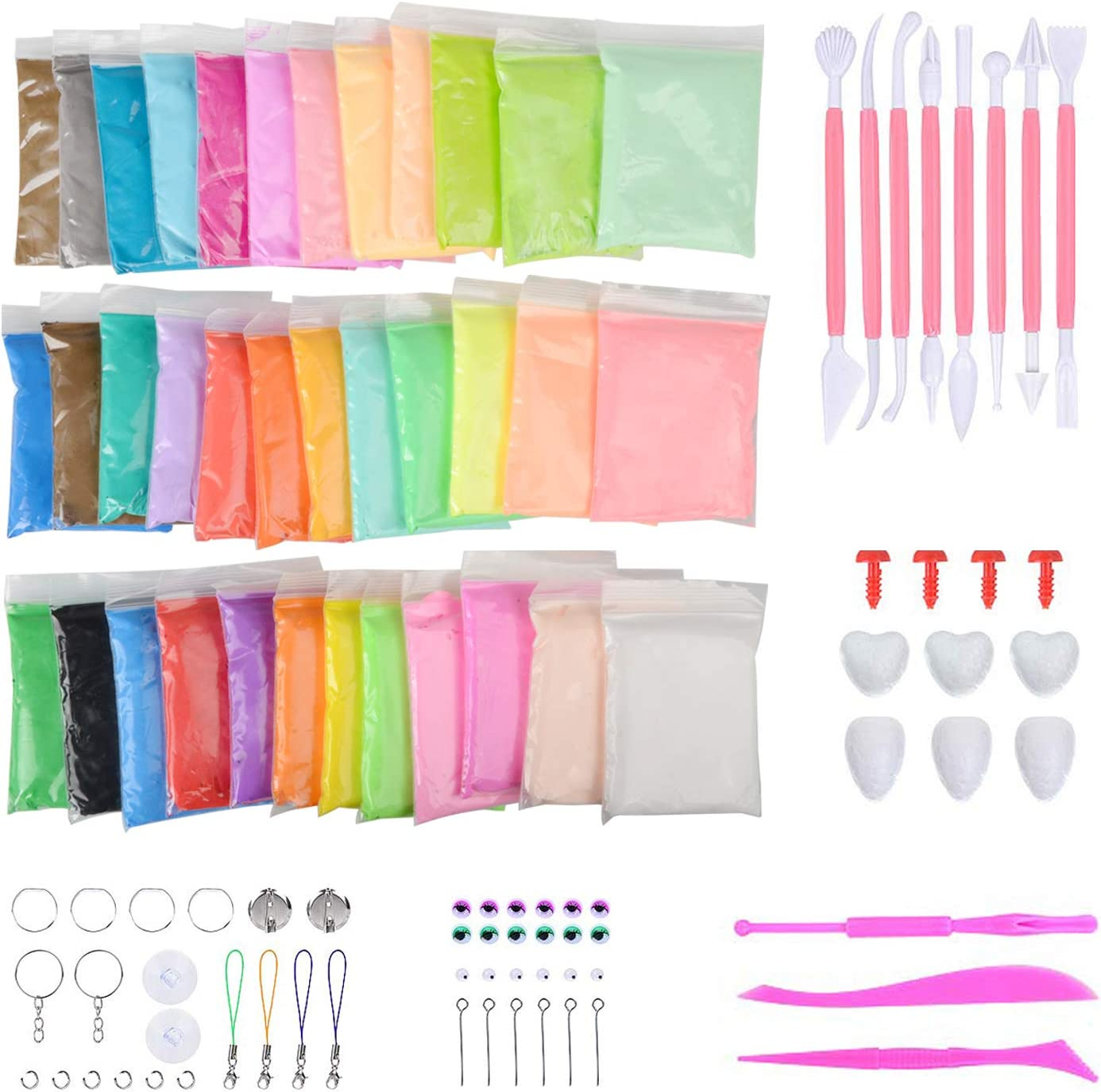 Abree 36 Colores Slime Kit - DIY Arcilla Colorida de Caucho de Barro Magia Plastilina - Juguetes Educativos sin Tóxicopara Niños - Regalo Creativo de Cumpleaños para Niños de 3 años/5 años/7 años