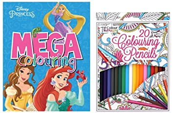 Disney Princess Mega Colouring Book Colour Therapy Pack Of 20 Pencils Set