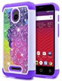 Alcatel Ideal Case with [Tempered Glass Screen Protector], Alcatel Pixi Avion 4G LTE / Pixi Bond / Ideal 4G LTE / Dawn / Streak, NageBee Silicone Cover Studded Rhinestone Bling Design Hard Case-Purple