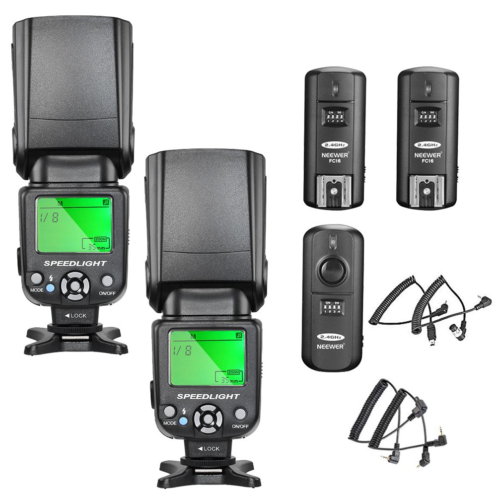 Neewer NW-561 Flash Speedlite Kit for Canon Nikon and Other DSLR Cameras,Include:(2) NW-561 Flash+(1)2.4G Wireless Trigger(1 Transmitter + 2 Receiver)