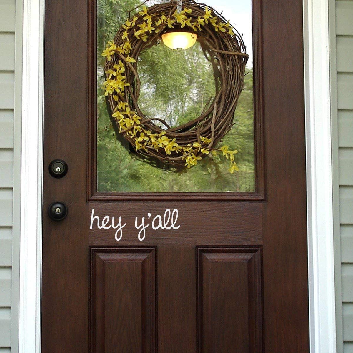 Richstar17 Hey Y'all Door Decal - Front Door Decal - Door Sticker - Hello Door Decal - Wall Decal (White)