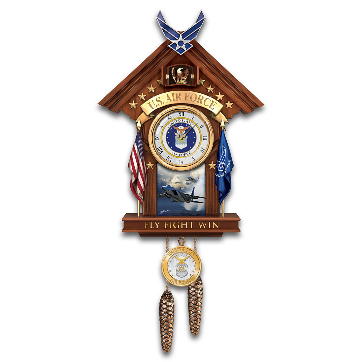 United States Air Force Cuckoo Clock with F15 Art by The Bradford Exchange