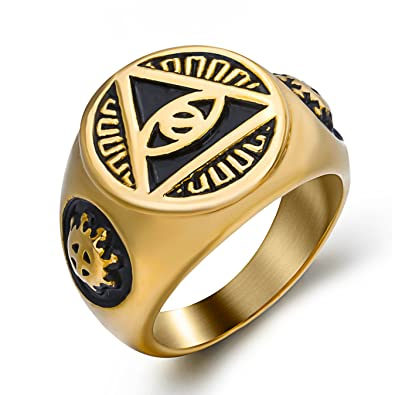 Elfasio Mens Gold Illuminati The All Seeing Eye Illunati Pyramideye