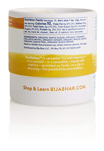 Bija Bhar Resilience Turmeric Elixir, Powdered Drink Mix, Subtly Sweetened, 2.12 Oz, 15 Serving Canister