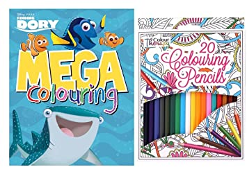 Finding Dory Mega Colouring Book Colour Therapy Pack Of 20 Pencils Set