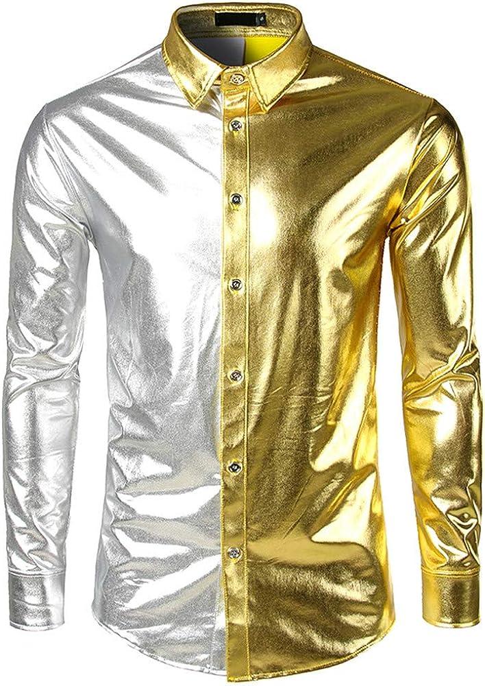 Piebo_Hommes - Camisa Formal - Moda - para Hombre Dorado M: Amazon.es: Ropa y accesorios