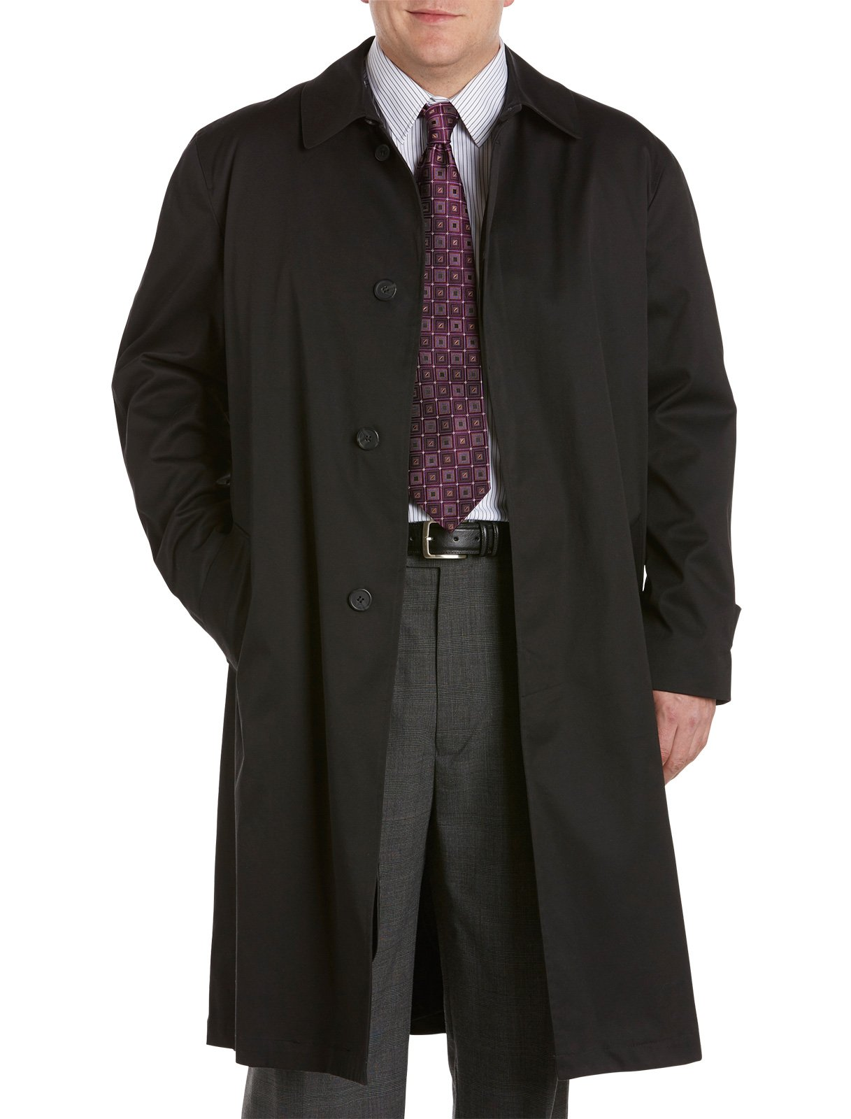 Jean Paul Germain Big & Tall Buster Three-Season Overcoat (54 Reg, Black)
