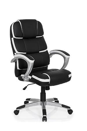 MyBuero silla gaming GAMING PRO BY 100 piel sintética negro / blanco silla escritorio 722110: Amazon.es: Hogar