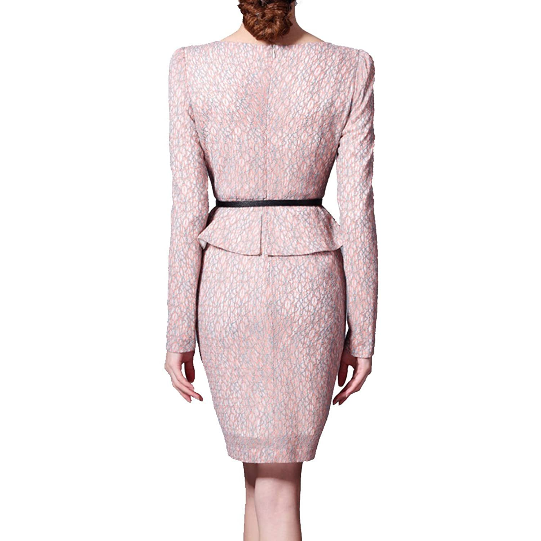 Nanxson(TM) Women's Long Sleeve One-piece Slim Fit pink formal work Dress LYQ0037