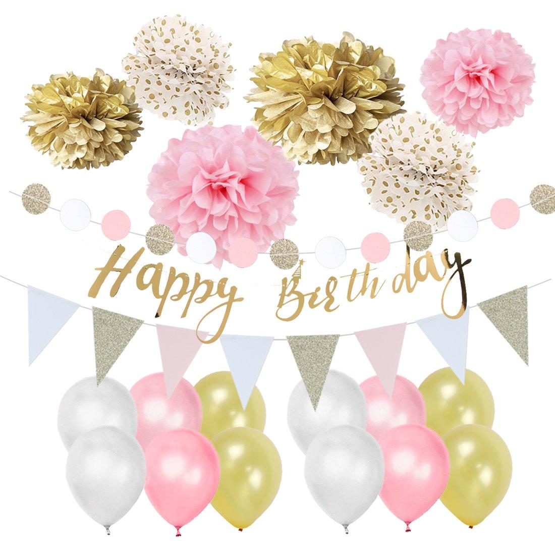 Easy Joy Decorazione Rosa, Deco Set per Festa, Compleanno, Anniversario, Matrimonio, Rosa e Dorato