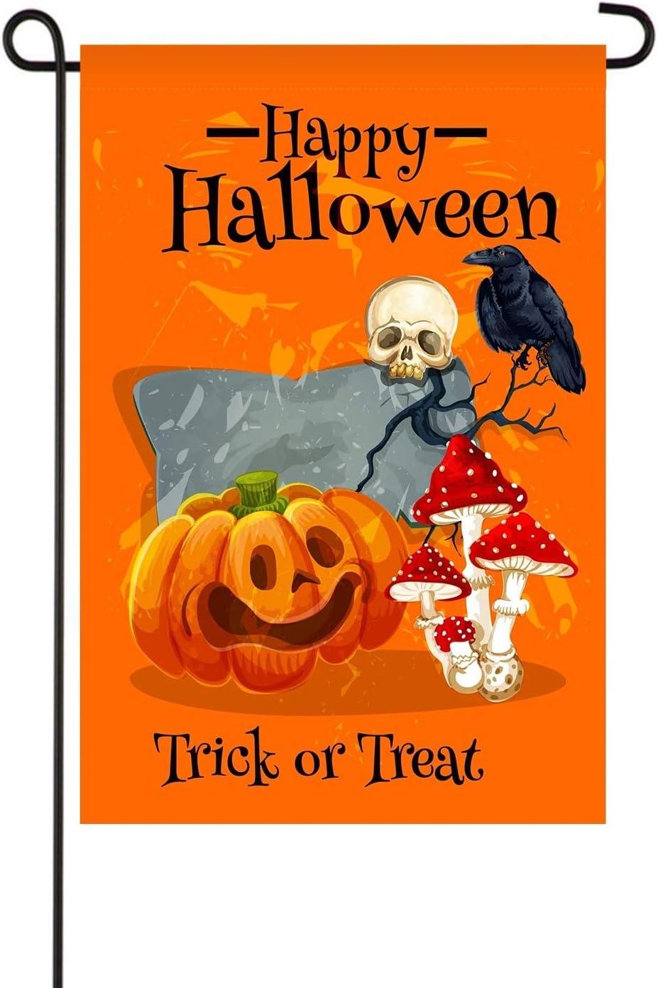 Happy Halloween Garden Flag,Trick or Treat Letter,Skeleton Crow Pumpkin Yard Outdoor Decoration