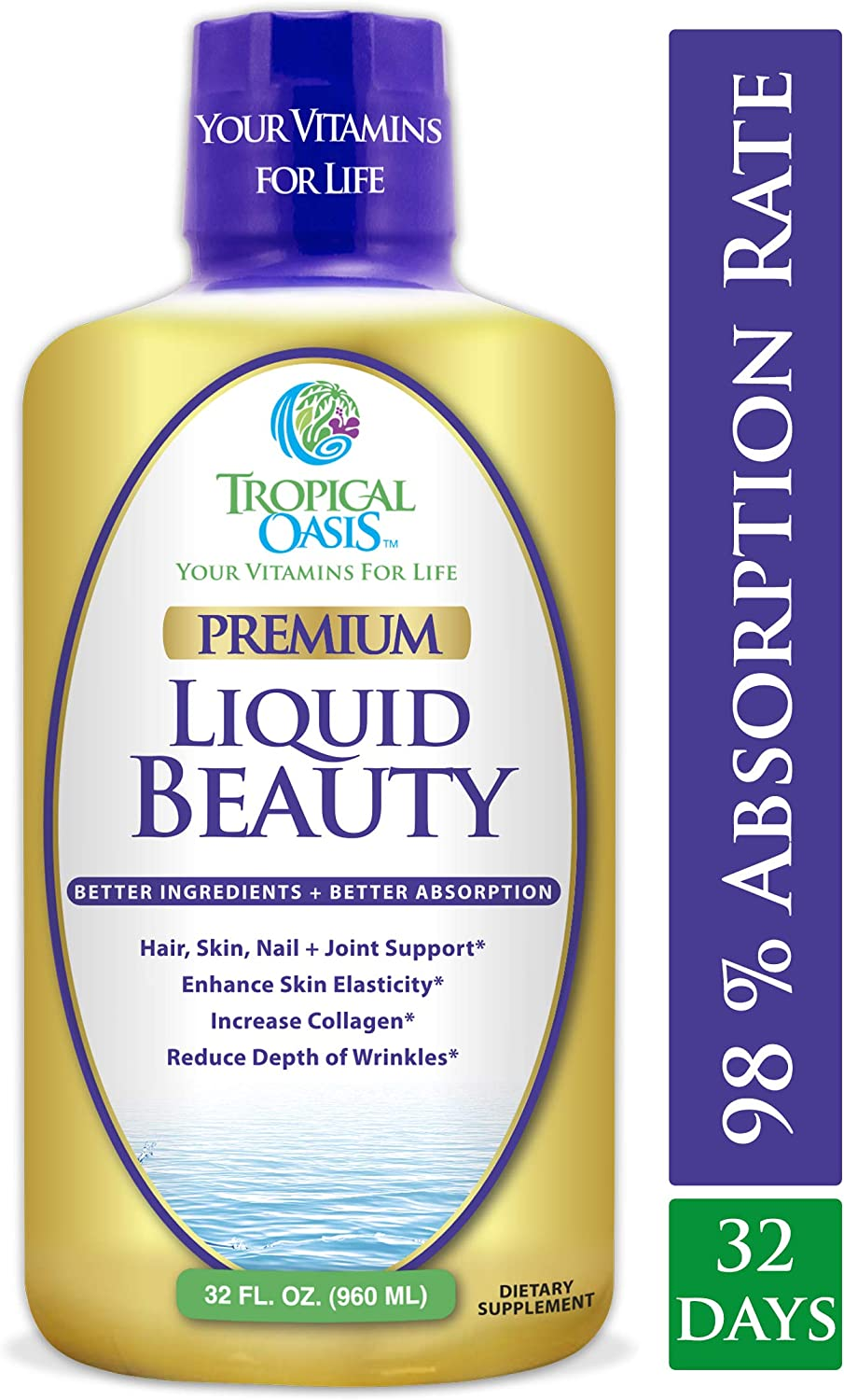 Liquid Beauty | Maximum Strength Hair, Skin & Nails Vitamin | 12,500mcg Biotin, Collagen, Bamboo, DHT Blocker & More| Fast Hair Growth, Less Hair Loss + Healthier Skin & Nails- 98% Absorption, 32 Serv