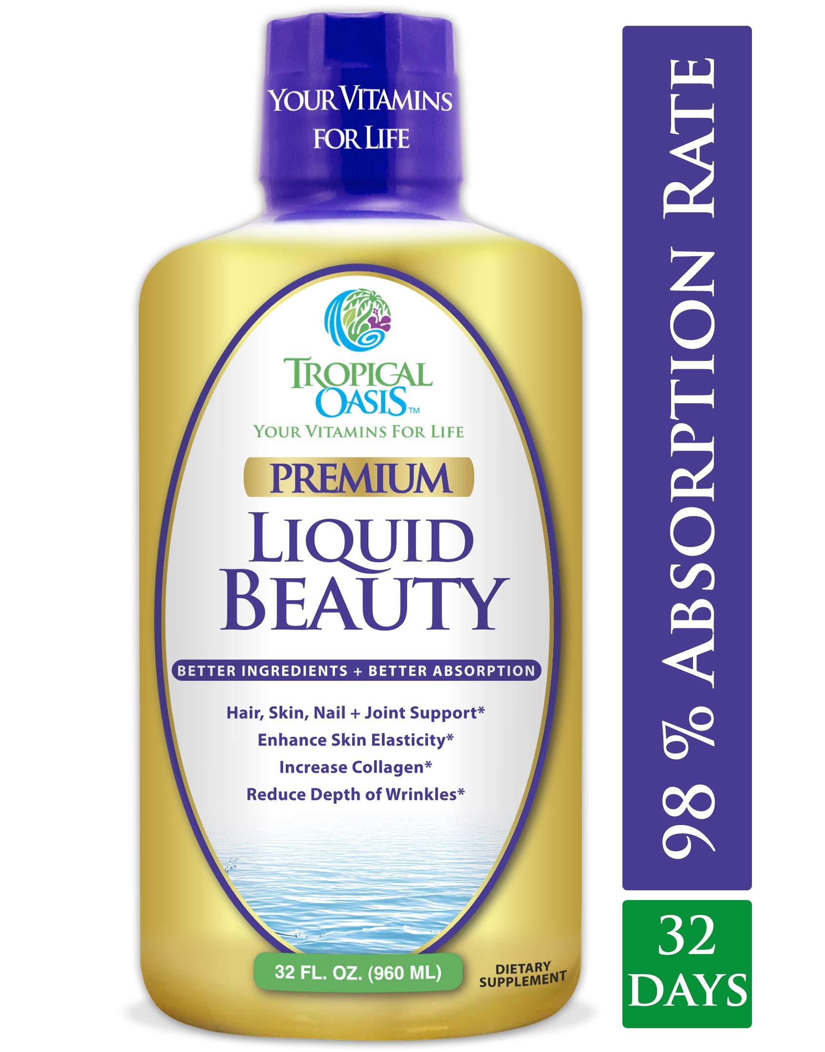 Liquid Beauty   Maximum Strength Hair, Skin & Nails Vitamin   12,500mcg Biotin, Collagen, Bamboo, DHT Blocker & More  Fast Hair Growth, Less Hair Loss + Healthier Skin & Nails- 98% Absorption, 32 Serv by Tropical Oasis