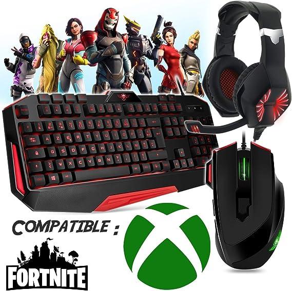 Pack Gamer Teclado, Ratón, Auriculares y Alfombra, Compatible con Fortnite Xbox One y otros juegos.: Amazon.es: Electrónica