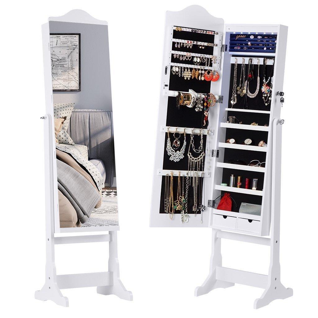 LANGRIA Armadio Specchio Portagioie Gioielli Bloccabile e Stand a Specchio Pieno con Luce di LED e 2 Cassetti Per Anelli Orecchini Bracciali Spille Cosmetici, Bianco HA1SG4G0-YKUK-F1