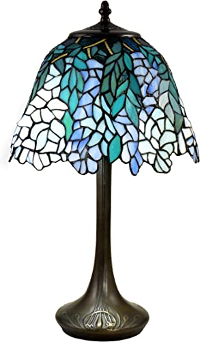 Dale Tiffany TT18348 Pelle Wisteria Brass Tiffany Table Lamp, Antique Bronze Verde