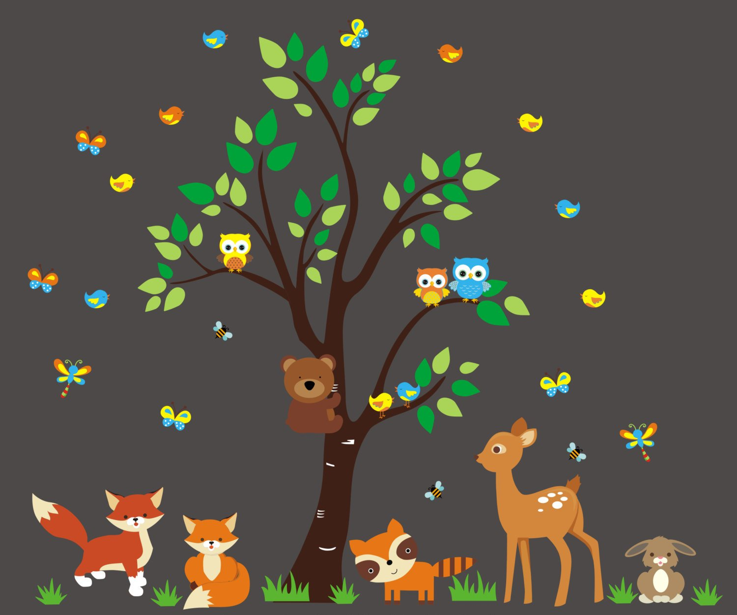Forest Wall Decals for Nursery - Woodland Animal Stickers - Nature Wall Decals