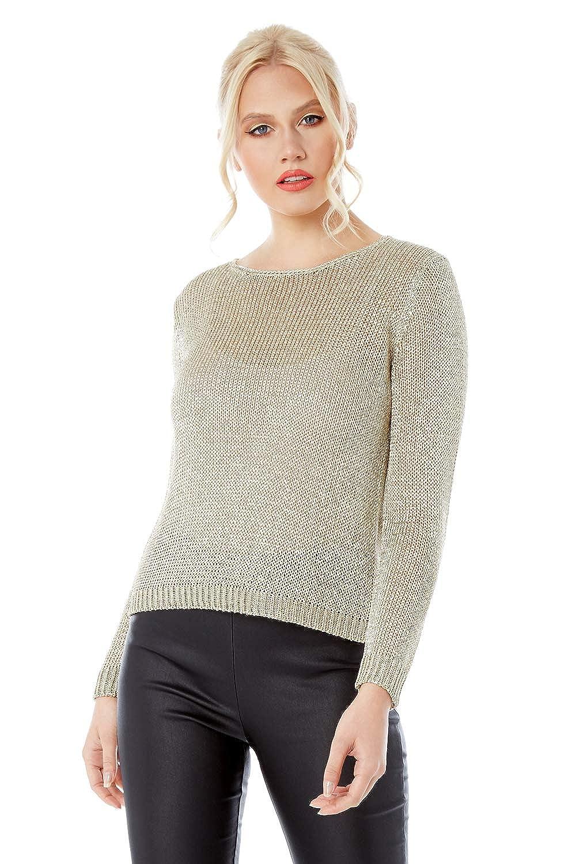 Roman Originals Damen Pullover aus metallischem Garn Damen Pullover elegant l/ässig Weihnachten Herbst Winter Langarm abends Ausgehen gestrickt