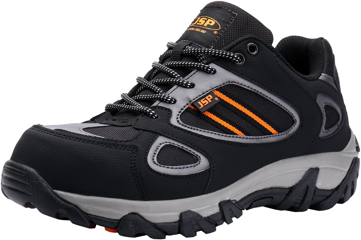 Mens Safety Shoes, JSP-0704 Outdoor Steel Toe Work Boots for Men Breathable Slip Resistant Footwear (9.5)