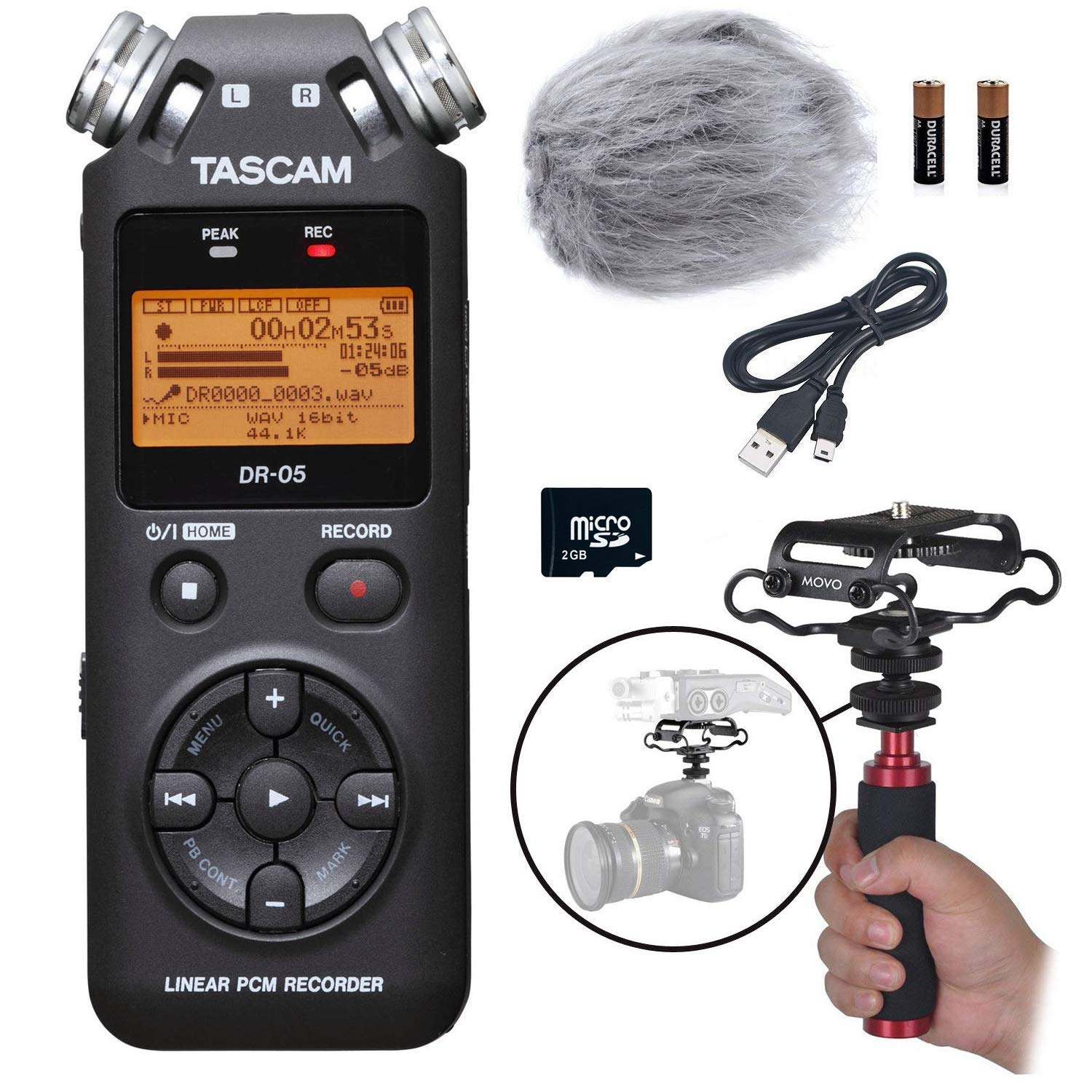 Tascam DR-05 Portable Handheld Digital Audio Recorder Bundle with Movo Deadcat Windscreen, Shockmount, Camera Mount and Mic Grip (Version 2, Black)