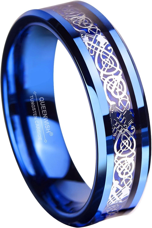 Queenwish 6MM Blue Tungsten Carbide Ring Celtic Dragon Blue Carbon Fibre Inlay Mens Wedding Band Size 6-13