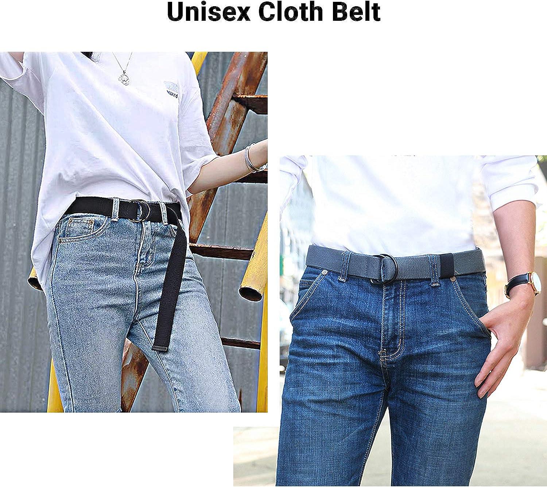 2 Paquetes Cinturones Militar Ajustable Todo-F/ósforo con Hebilla de Anillo en D Negro para Hombres Mujeres ITIEZY Cintur/ón de Lona Hombre