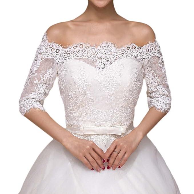 Amazon.com: beautbride mujeres Off hombro boda Bolero Media ...