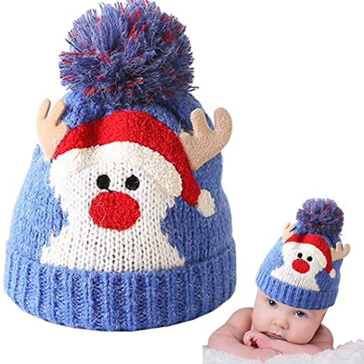 2cd573509ee Christmas Holiday Baby Kids Knitted Warm Hat Toddler Santa Knit Cap Infant Reindeer  Beanie Cap (