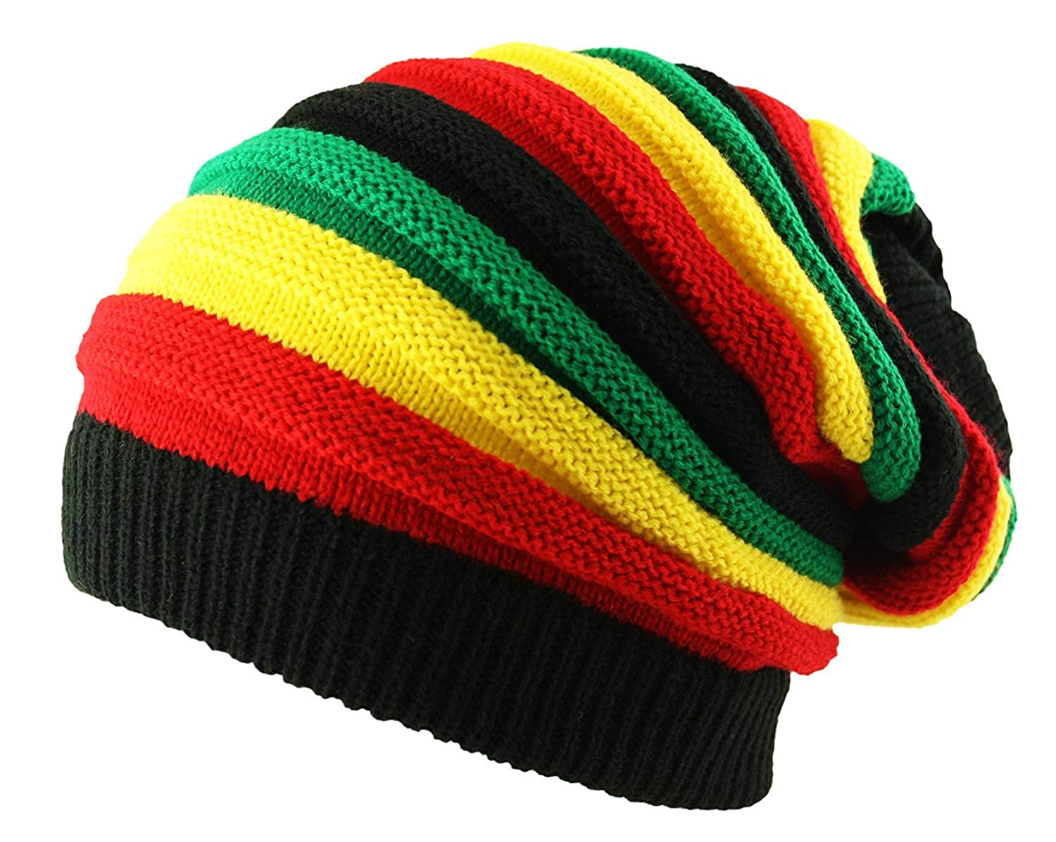 4411d6c7a CRAZY LIZARD Rasta Knitted Oversized Rasta stripe Slouch Beanie Cap Hat  without Peak in Black (Yellow/Red/Green)