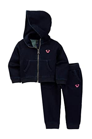 1773f2116 True Religion Kids Indigo French Terry Hoodie Set Infant Toddler Indigo  Girl s Active Sets