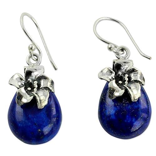 NOVICA Lapis Lazuli .925 Sterling Silver Floral Dangle Earrings Lovely Lily