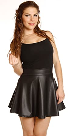 6e02a5158693 Women Black Faux Leather Mini Skirt High Waisted Flared Pleated Skater Short  (S (26inch