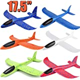 """6 Pack Airplane Toys, 17.5"""" Large Throwing Foam Plane, 2 Flight Mode, Foam Gliders, Flying Aircraft, Birthday for Kids 3 4 5 6 7 8 9 Year Old Boy,Outdoor Sport Game Toys, Party Favors"""