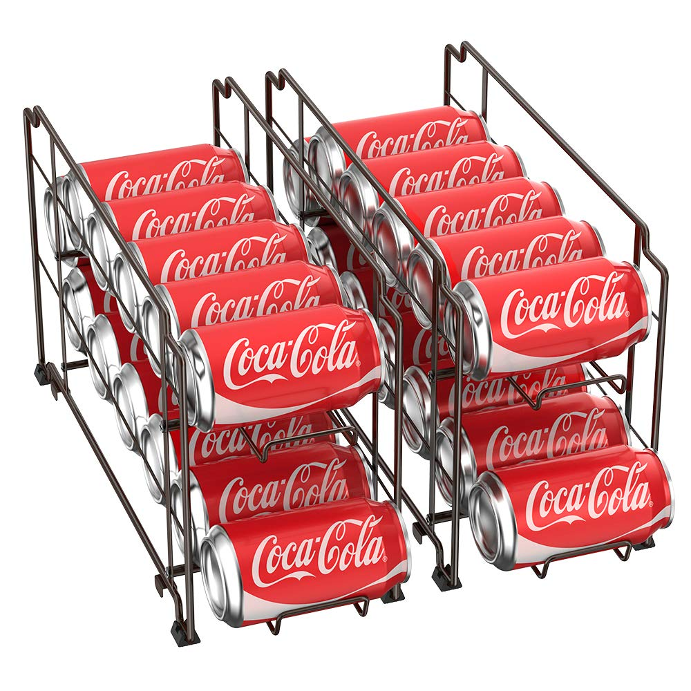 2-Tier Can Organizer Metal Soda and Food Can Dispenser Storage Rack Organizer Shelf for Kitchen Pantry, Countertop, Holds 12 Cans, Bronze by NEX