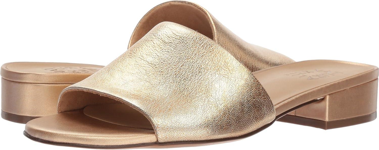 Light gold Metallic Leather Naturalizer Womens Mason Slide Sandal