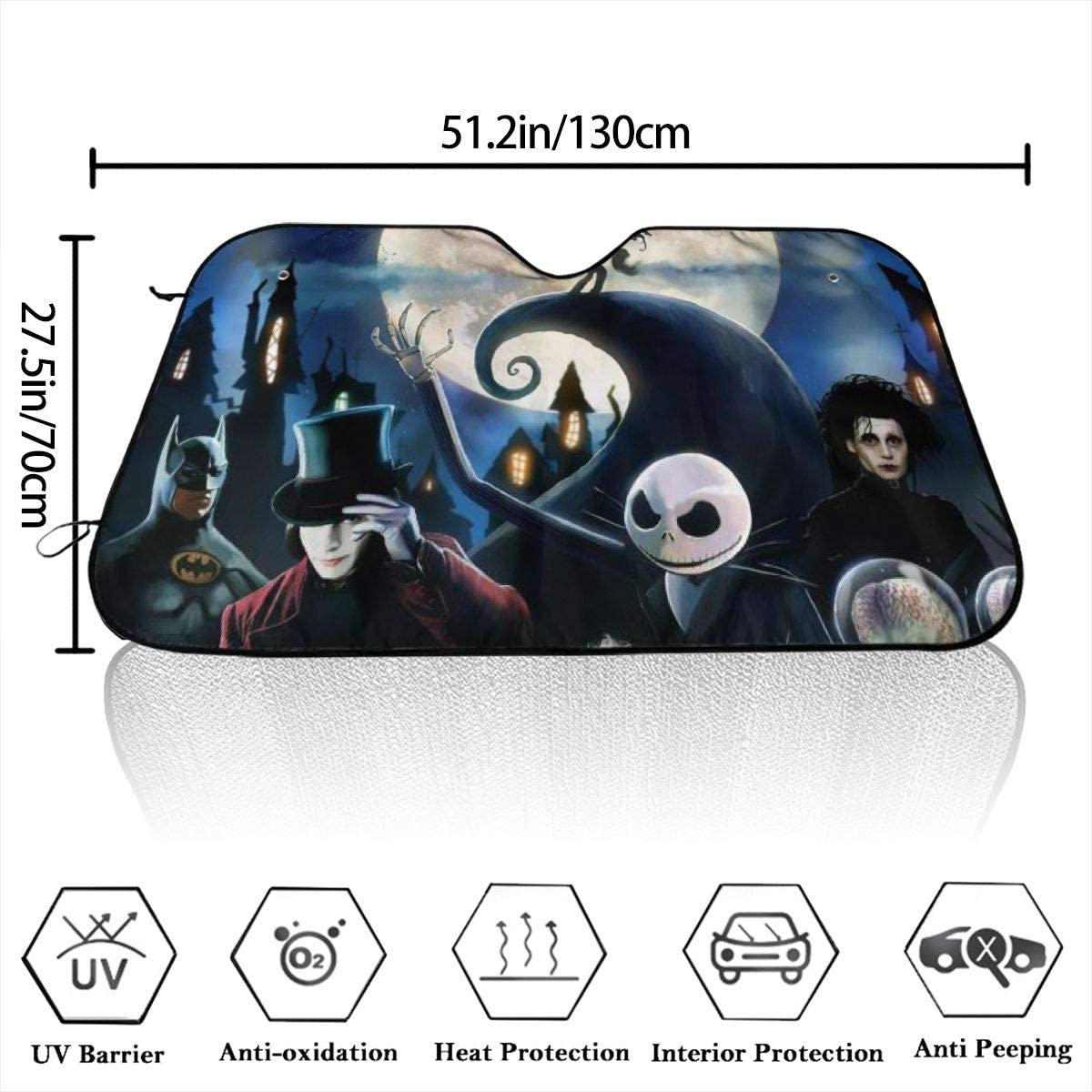 Bargburm Nightmare Before Christmas Car Windshield Sun Shade Vehicle Sunshade Front Windshield UV Protect 51.2 X 27.5