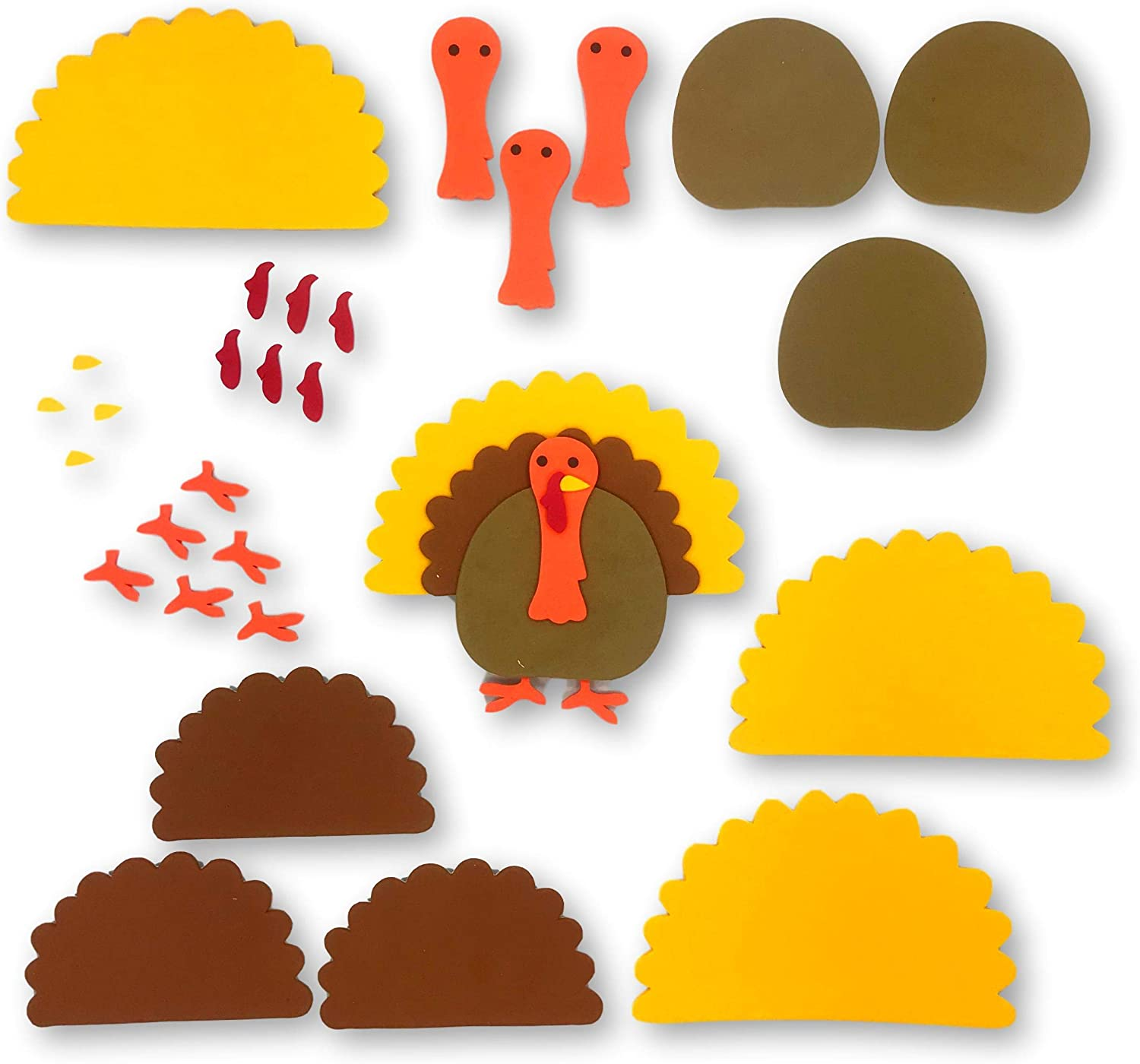 Knextion Inc Thanksgiving Turkey Foam Arts and Crafts Kit 10 Pieces Fall Autumn Classroom Activity Supplies