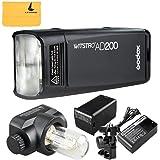 Godox AD200 200W 2.4G TTL Flash Strobe 1/8000s HSS Pocket Flash Monolight Light Double Head 200Ws with 2900mAh Lithium Battery Speedlite Flash Fresnel Flash Head Flashlight (AD200)