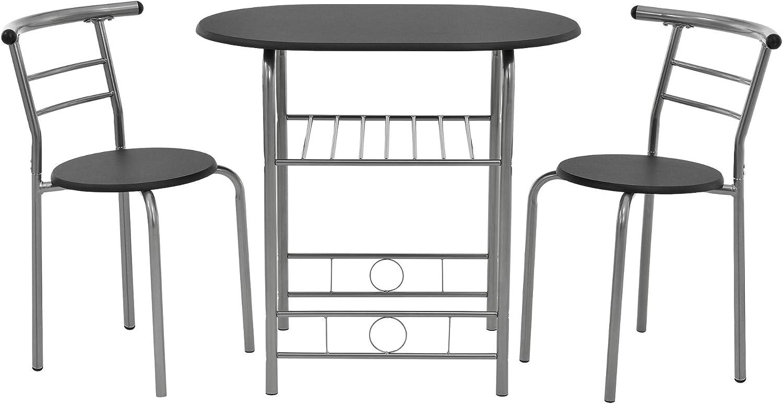 en.casa] Bistro Set SchwarzGrau Tisch und Stuhlset
