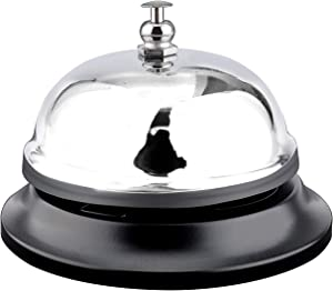 "Call Bell Chrome Finish. Hand front desk ringing bell service hotel, counter, school teacher classroom, restaurant, reception, Hospitals, warehouse, office, dinner, kitchen, elderly ring. 3.38""/Silver"