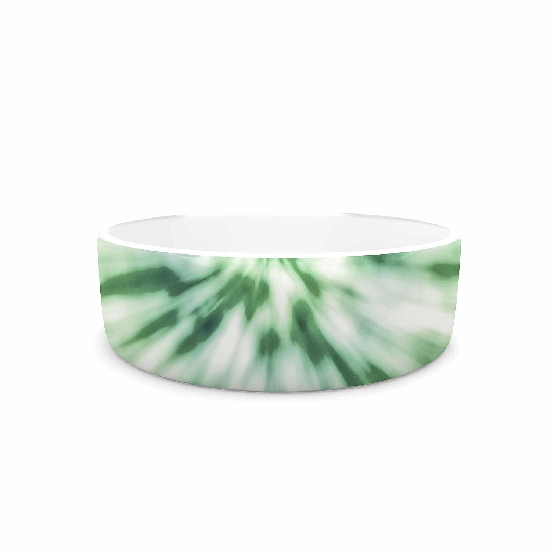 KESS InHouse Nika Martinez Green Spring Tie Dye  Green bluee Pet Bowl, 7