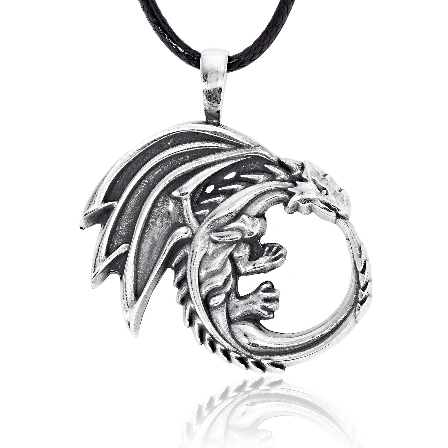 Dan's Jewelers Ouroboros Dragon Pendant Necklace + Silver Plated Clasp, Fine Pewter Jewelry