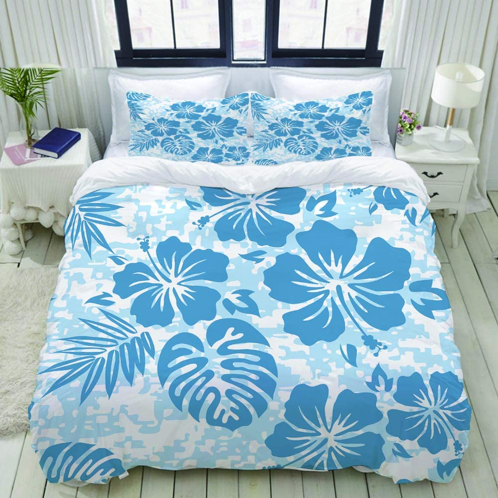 XINGAKA Hibiscus Aloha Hawaiian Pattern Hawaii Floral Surf Flower Tropical Camo Tiki College Dorm Room Decor Decorative Custom Design 3 PC Duvet Cover Set Twin/Twin Extra Long