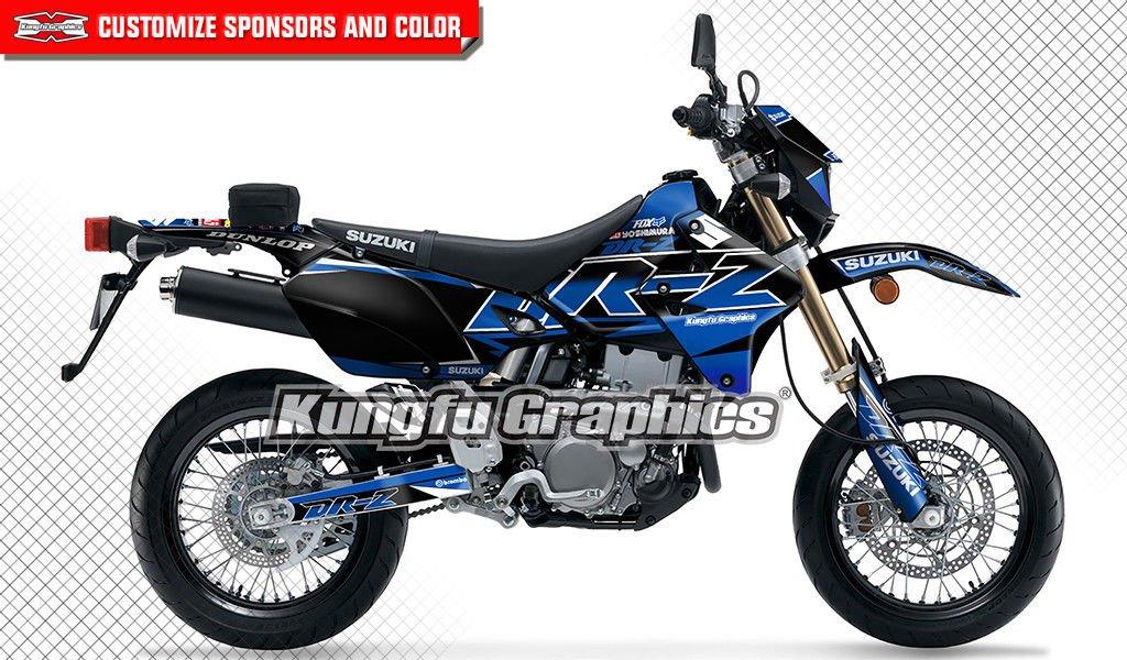 Kungfu Graphics Custom Decal Kit for Suzuki DRZ400 SM DRZ400S DRZ400SM DR-Z 400 DRZ 400 1999 2000 2001 2002 2003 2004 2005 2006 2007 2008 2009 2010 2011 2012 2013 2014 2015 2016 2017 2018, Black Blue