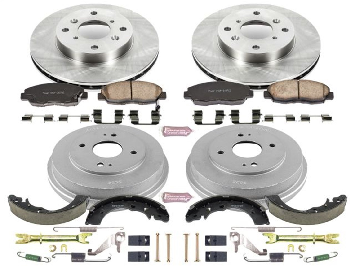 Power Stop Front /& Rear KOE15106DK Autospecialty Daily Driver Pad Drum and Shoe Kits Rotor