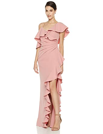 bdcd08a5280a Amazon.com: Social Graces Women's Asymmetrical Shoulder Waterfall Ruffle  Evening Gown 2 Terra Cotta: Clothing